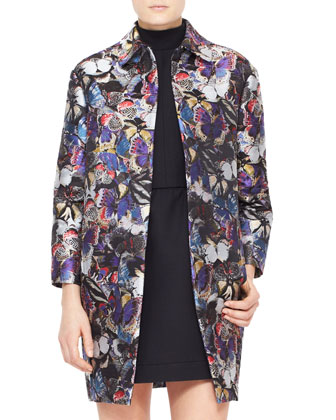 Butterfly Brocade Coat, Purple/Multi