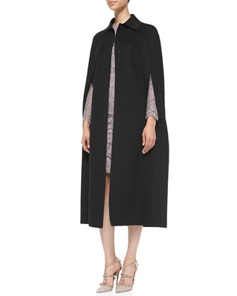 Long Butterfly-Applique Cape & Long-Sleeve Lace Sheath Dress