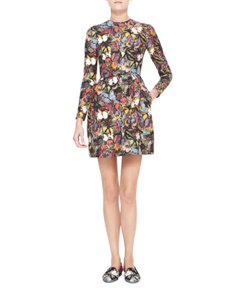Long-Sleeve Butterfly Print Bambolina Dress, Multicolor