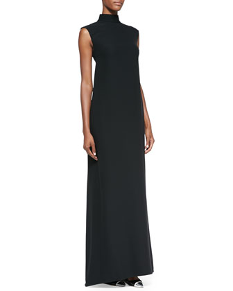 Sleeveless Mandarin-Collar Gown, Black/Ivory