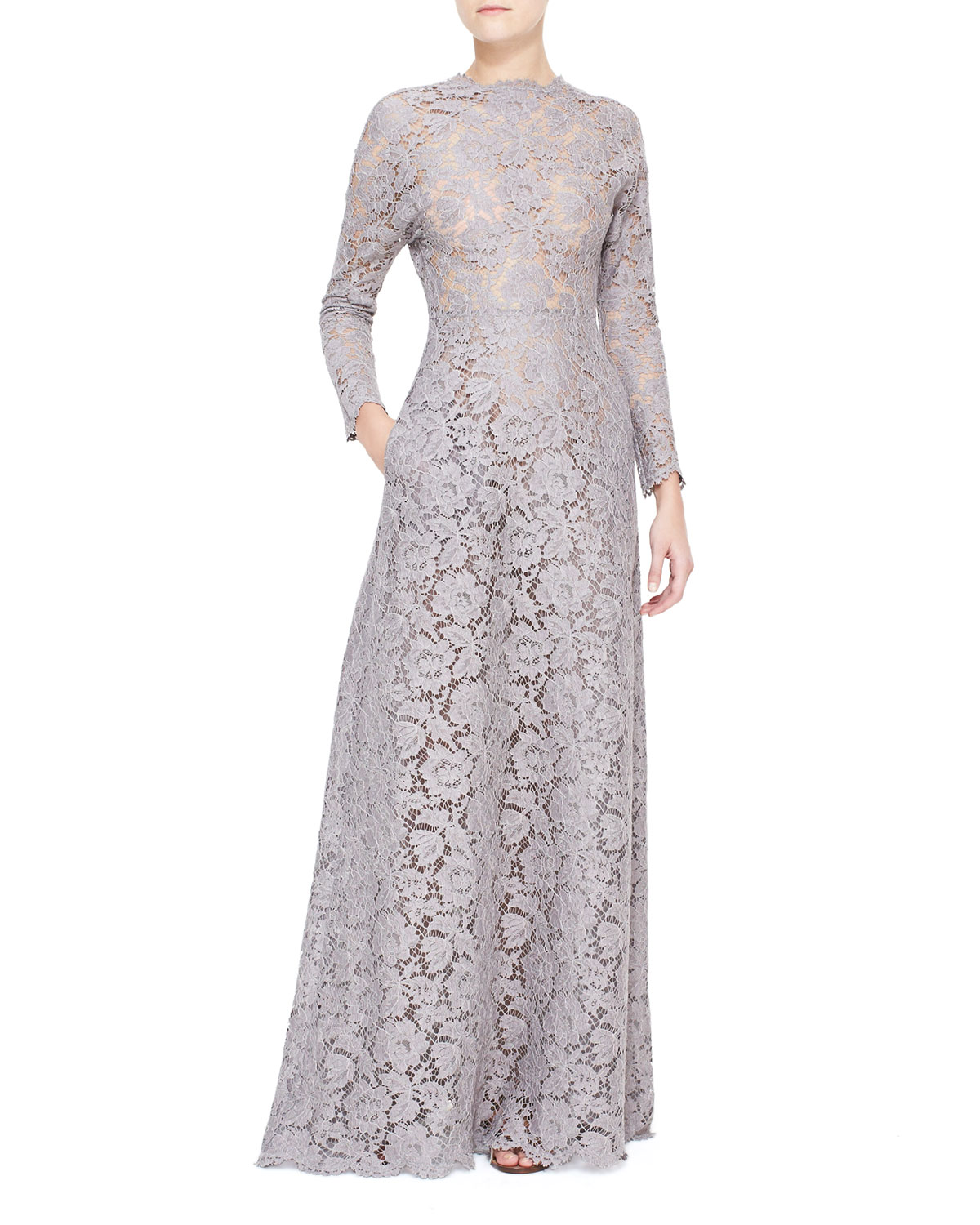 Womens Long Sleeve Lace Gown with Open Back   Valentino   Lilac gray (6)