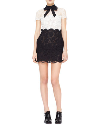Short-Sleeve Lace Dress, Black/Ivory