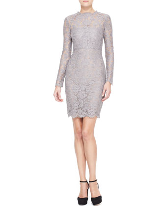 Long-Sleeve Lace Sheath Dress, Lilac Gray