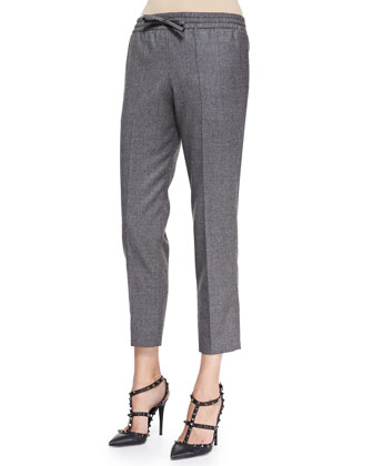 Flannel Drawstring Pants, Gray
