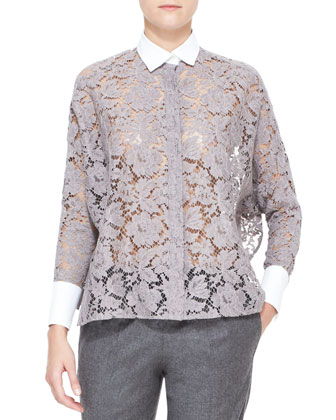 White-Collared Lace Tunic, Lilac Gray