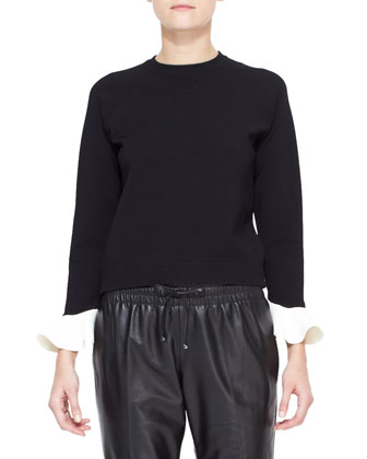 Long-Sleeve Contrast-Flutter-Cuff Top & Leather Track Pants with Drawstring