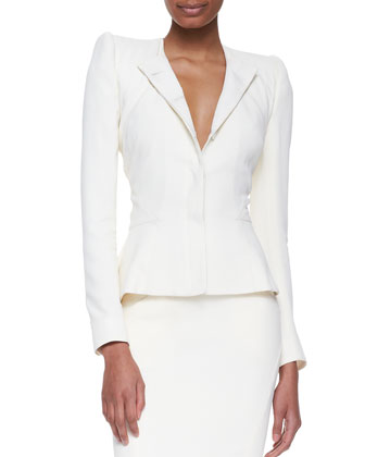 Fitted Modified-Peplum Blazer and Pleat-Back Pencil Skirt
