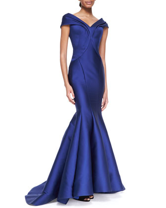 Seamed Off-Shoulder Drape Gown