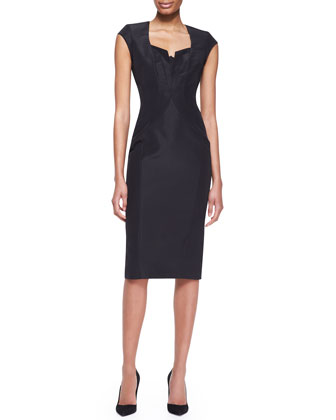 Cap-Sleeve Silk Faille Dress, Black