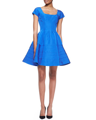 Short-Sleeve Silk Faille Dress, Capri Blue