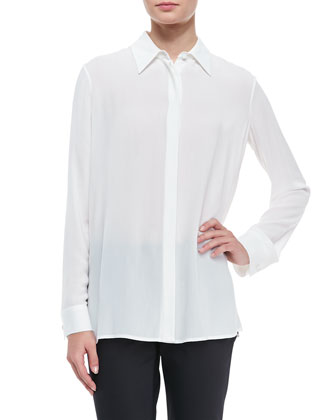 Long-Sleeve Collared Blouse, White