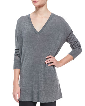 Long-Sleeve Oversized V-Neck Sweater, Gray