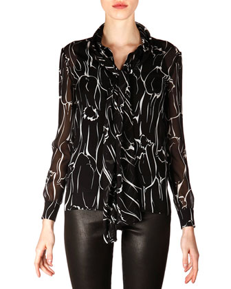Long-Sleeve Marbled Silk Georgette Blouse