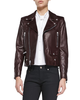 Classic Bordeaux Leather Moto Jacket