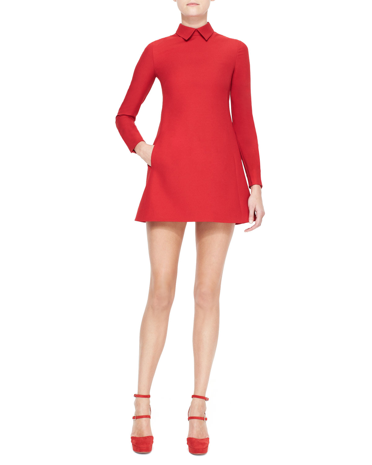 Womens Collared Long Sleeve Dress, Red   Valentino   Red (8)
