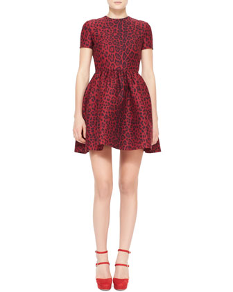 Short-Sleeve Leopard-Print Bambolina Dress, Red