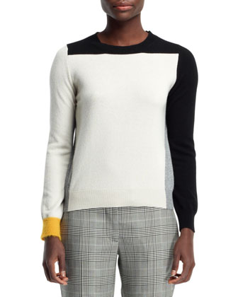Cashmere Colorblock Sweater, Black/White