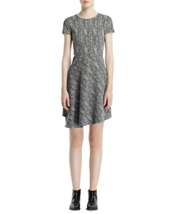 Cap-Sleeve Herringbone Jacquard Dress, Black/Chalk