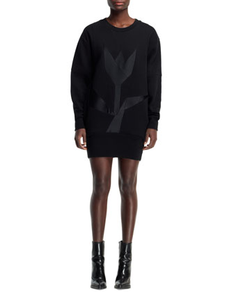 Long-Sleeve Tulip Sweatshirt Dress, Black