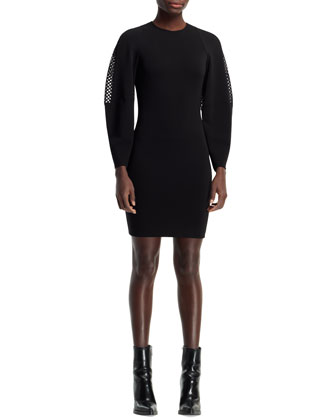 Basketweave-Sleeve Dress, Black