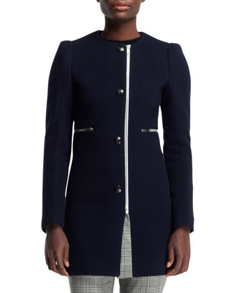 Jewel-Neck Plaid-Trim Coat, Ink