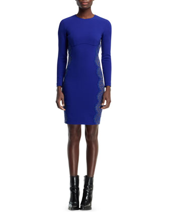 Anne Long-Sleeve Sheath Dress, Blue Bird