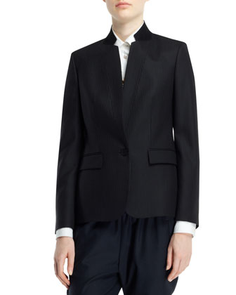 Fleur Stand-Collar One-Button Jacket, Long-Sleeve Button-Front Tuxedo ...