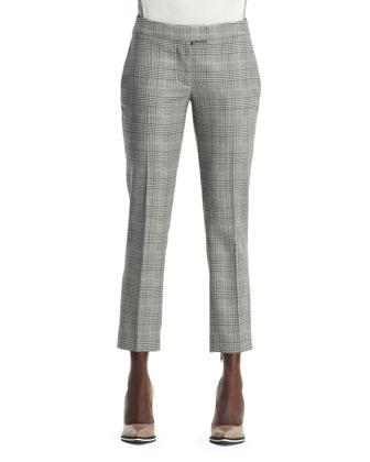 Glen Plaid Cropped Trousers, Black