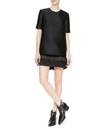 Mod Short-Sleeve Fringe-Bottom Dress