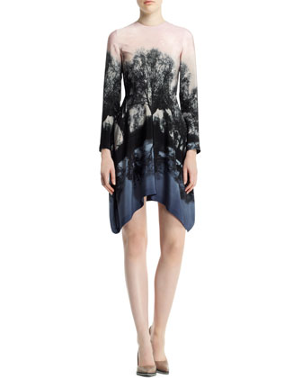 Fireworks Hampstead Printed Dress, Black/Blush/Multi