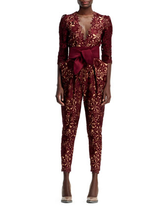 Half-Sleeve Flower Lace Jumpsuit, Burgundy