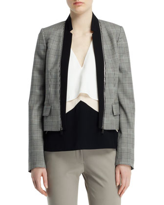 Glen Plaid Jacket with Zip-Off Lapels, Sleeveless V-Neck Layered Top & Ivy ...
