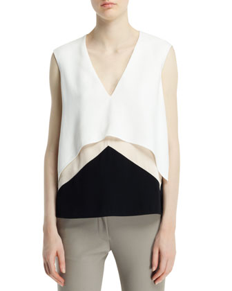 Sleeveless V-Neck Layered Top, White/Cream/Black