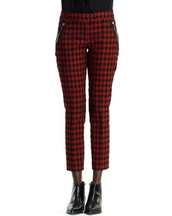 Zip-Trim Houndstooth Pants, Dark Orange