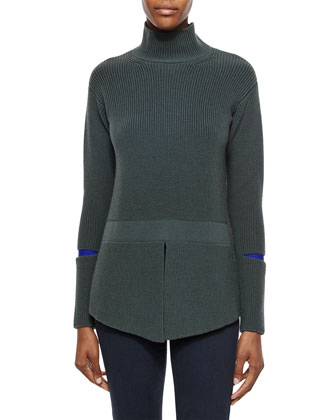 Turtleneck Sweater with Slit Sleeves, Slate Blue