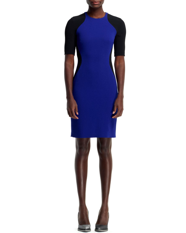Womens Anita Contour Colorblock Sheath Dress, Blue/Black   Stella McCartney