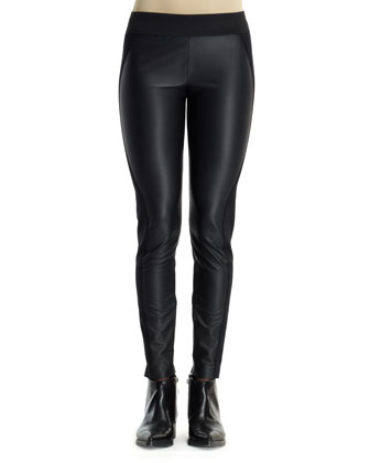 Pleather/Knit Combo Leggings