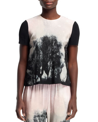 Fireworks Hampstead Printed Tee, Black/Blush/Multi
