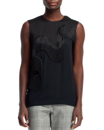 Fringe-Wave Sleeveless Tee & Glen Plaid Cropped Trousers