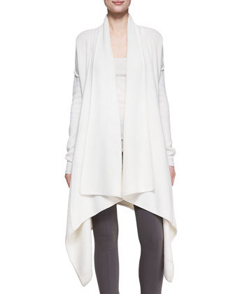 Long-Sleeve Draped Cozy Coat & Ribbed Cashmere-Blend Tank Top