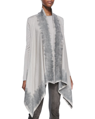 Long-Sleeve Drape Front Cozy Cardigan, Putty