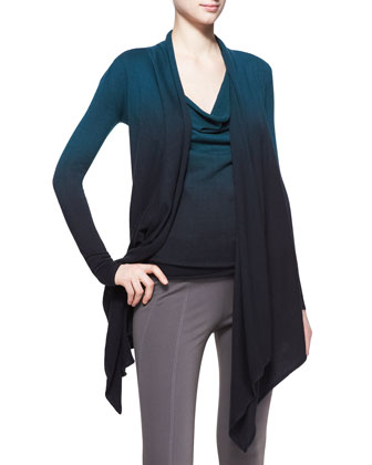 Featherweight Ombre Cozy Cardigan and Cap-Sleeve Drape Top
