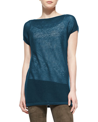 Cashmere Cap-Sleeve Tunic, Teal