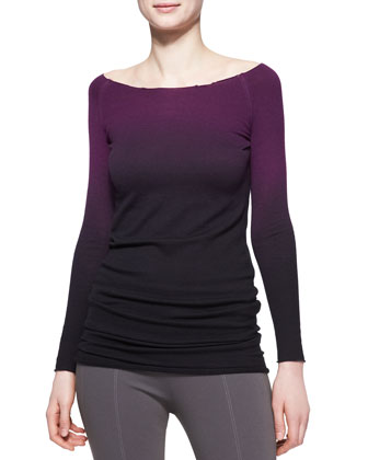 Long-Sleeve Asymmetric Ombre Cashmere Tunic