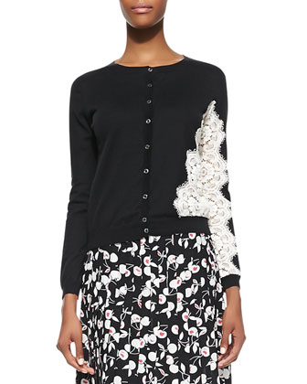 Long-Sleeve Knit Cardigan with Lace & Pleated Cherry-Print A-Line Skirt