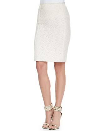 Slim Lace Skirt, Ecru