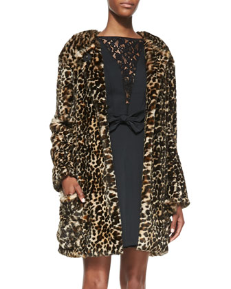 Leopard-Print Faux Fur Jacket & Sleeveless Fit-and-Flare Dress with Lace