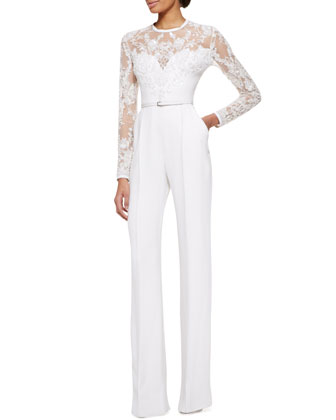Long-Sleeve Lace-Embellished Jumpsuit, Jasmine White