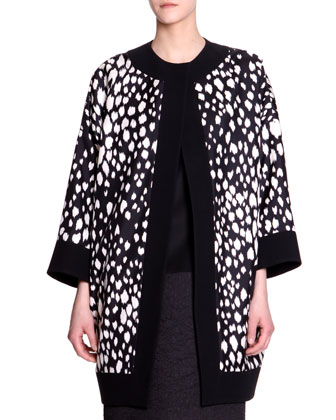 Animal-Print Long Silk Jacket & Fabric-Block Cap-Sleeve Dress
