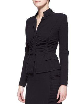 Long-Sleeve Crushed Cardigan Jacket & Pull-On Crushed Pencil Skirt